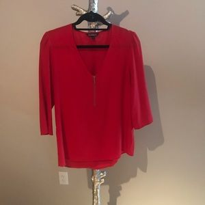 Red Express Zip Front Blouse